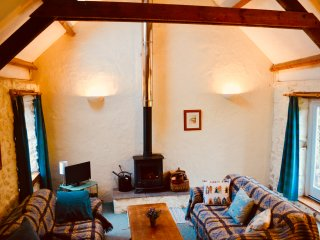 The living room with wood burner and french windows