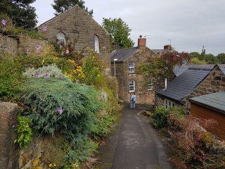 this pedestrian track leads from by the cottage through historic Crich to views over the Derwent.