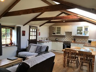 Open plan living/dining/kitchen with vaulted ceiling and exposed beams