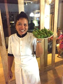 Wayan Suriani (our chef) with her famous Green Pancakes!