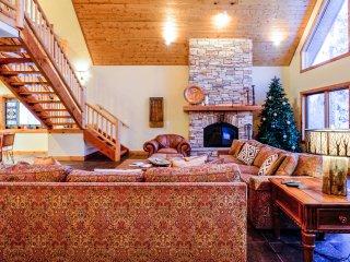 Large wood burning fireplace