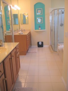 Master Bath is part of the Master suite - multi-head shower, twin vanity and Roman soaking bath.
