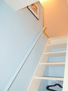 Stairway to loft area, accessible from the 2nd bedroom.