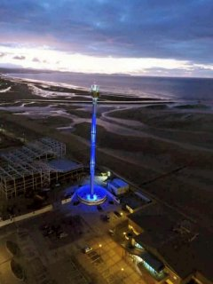 The brand new water park next too the lit up sky tower