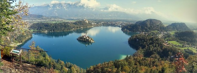 Summer view from the nearby hill in Bled and the location of the house