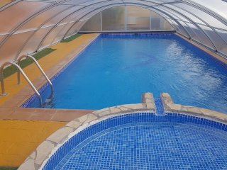 Enclosed pool - ideal for swimming on cooler days