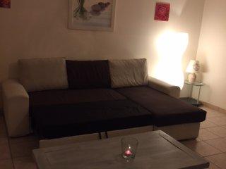 salon avec télévision et canapé convertible en vrai lit