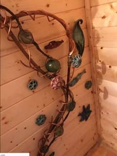Ceramic and copper kelp forest shower created by your host.