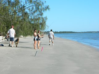 Walk along beach to 2 restaurants & shops or drive 20 mins to City Shops. Its just paradise .