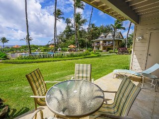 Kaha Lani #109, Ocean View, Ground Floor, Tropical Elegance, Steps to Beach