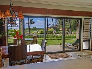 Kaha Lani #109, Ocean View, Ground Floor, Tropical Elegance, Steps to Beach