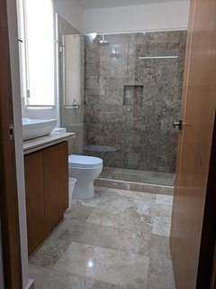Large marble bathroom and shower