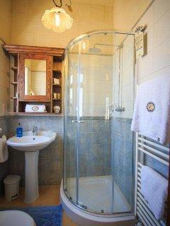 Walk in rain shower, vanity cupboard and toilet ensuite