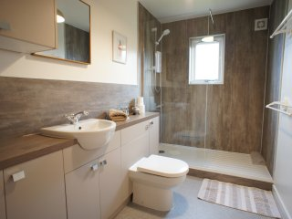 New refurbished bathroom with large walk in shower