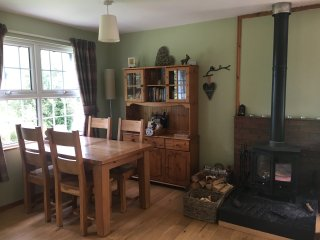 Dining area, looks out over the cottage garden and Glen Ogle