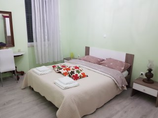 Pavelin apartments.One kingsized bedroom.Bathroom with shower.Kitchen and living