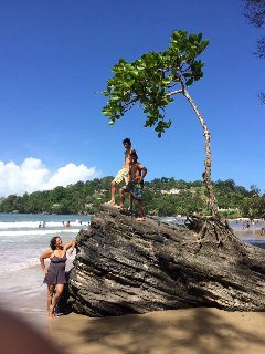 Las Cuavas beach . This beach is about an hour away ,very scenic ride ,warm water and safe .