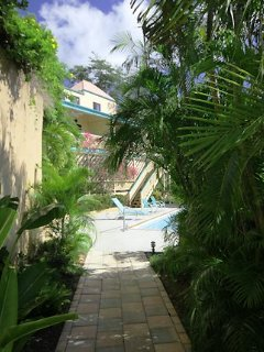The walkway from Tranquility in to the pool area