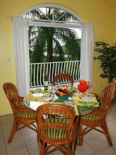 The interior dining table is a nice spot to enjoy a meal