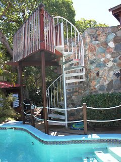These stairs lead to the upper bedroom deck