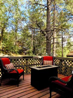 Relax on the front porch by the gas fire pit!