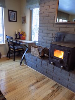Desk area and wood stove