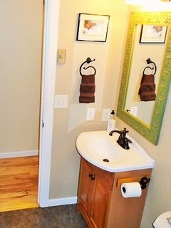 Guest bathroom in hallway with shower & bathtub.