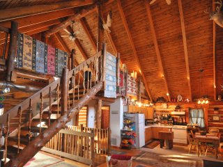 LOG HOME ON HARRIS LAKE WITH 15 ACRES IN COLOMA