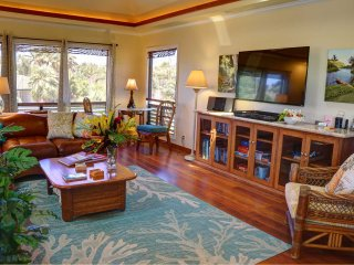Living room showing entertainment center