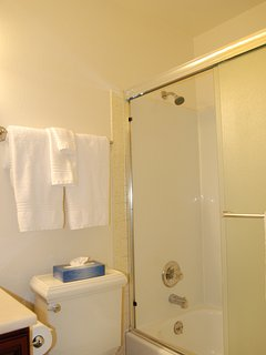 Upstairs hall bathroom with tub and shower