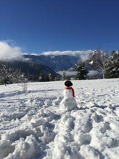 Frosty enjoys the Garmisch Views
