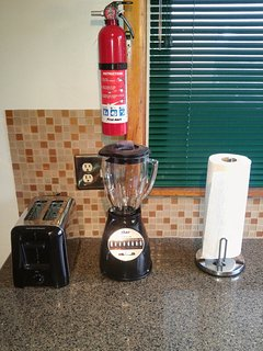 Fire extinguisher, toaster, and blender