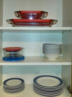 Storage containers, storage bowls, bowls, small plates, and large plates