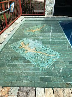 Tile work of the pool