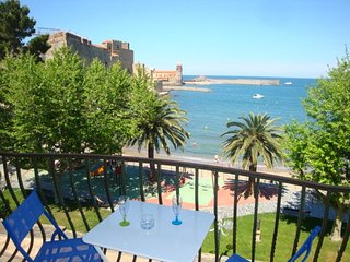 RENT APARTMENT 2 ROOMS BALCONY SEA VIEW CENTER COLLIOURE