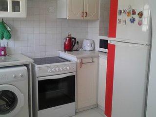 large fridge, microwave, kettle, toaster