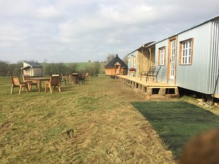 Blueberry farm stay 2, 5 shepherd huts for groups and families of upto 18 people