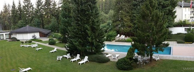 View from the balcony: Newly renovated outdoor pool.