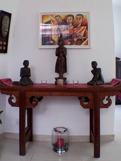 Buddhist altar table with art from Laos/Thailand