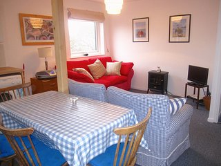 Table and Sitting area with 3 seater sofa bed and two armchairs.  Electric log effect fire, TV DVD