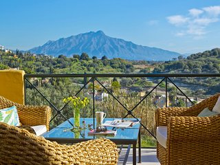 Marbella, Mountain and Ocean views.  Beach, golf, shops near