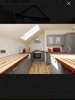 Fully working kitchen with all plates glasses and cooking utensils included