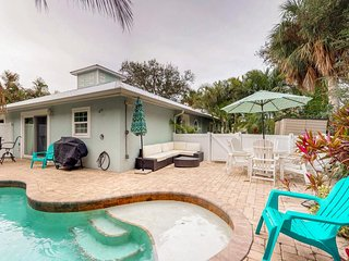 Classy beach home, so close to the sugar sand beach with a private pool!