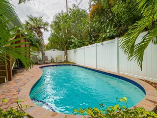 Dog-friendly retreat with a lagoon-style pool - two blocks to the beach!