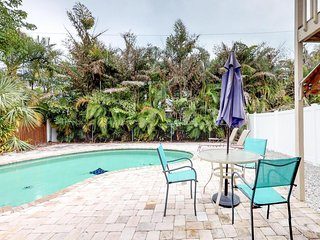 Condo features private pool and location a quick walk from the beach!