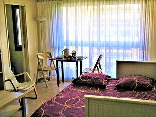 Studio au 8° étage, lumineux, avec balcon, au calme,une oasis dans la ville