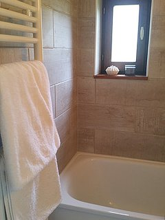 Bathroom with small bath and shower above