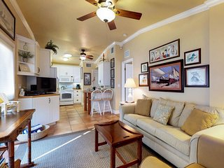 Elegant condo w/ patio & shared heated pool - one block to the beach/trolley!