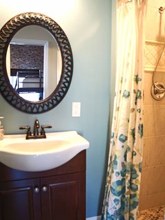Small bathroom directly across hallway from Harry Potter bedrooms on the main level.