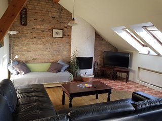 65 m2, Penthouse at Vokieciu, Fireplace, 3 rooms